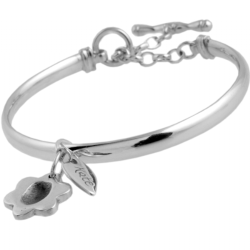 Flower Fingerprint Charm, Name Tag and Bangle with Toggle.
